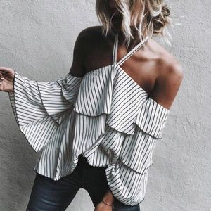 Tops - Sexy Striped Long Sleeve Neck Tie Ruffle Shirt